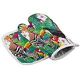 Wfispiy Juego de manopla para Horno y Soporte para ollas, Arte de Estampado Floral con temática Tropical de Verano