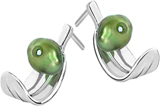Martha Vargas: Aretes plata ley .925 colección olivos hoja torcida con perla