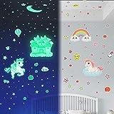 Yosemy Luminoso Pegatinas de Pared Unicornio Luna Estrellas Pegatinas de Pared para Niños Decoración Dormitorio Infantil Fluorescente Adhesivos Castillo Arcoíris, 6 Piezas (133pcs)