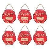 FOTABPYTI 【𝐏𝐫𝐨𝐦𝐨𝐜𝐢ó𝐧 𝐝𝐞 𝐒𝐞𝐦𝐚𝐧𝐚 𝐒𝐚𝐧𝐭𝐚】 Cajas de Regalo, Cajas de Dulces ecológicas, Material de Papel para 10 Suministros para(Bronzing Red Large [Hand Rope])