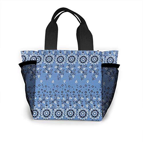 not applicable Blaue wiederverwendbare Einkaufstasche des traditionellen Kunst-Blumenstraußes Ripstop-Polyester-Lebensmittelgeschäft-Tasche oder Mittagessen-Tasche