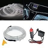 EL Wire Car Kit Luci per auto Luci a LED con interni freddi Decorazione per auto Atmosfera Tubi al neon Rotondi DC 12V Inverter Illuminazione a 360 gradi (White, 3M/9FT)