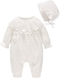 JooNeng Baby Girl Boy Romper Long Sleeve White Newborn Cotton Jumpsuit with Lace Hat