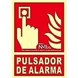 Normaluz RD00111 RD00111-Señal Luminiscente Homologada Pulsador de Alarma Clase B PVC 0,7mm 21x30cm, Rojo