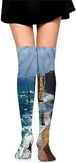 Casual Chaussette Femme Coastal,Giant Waves Splashes Rocks,socks women cotton 100%