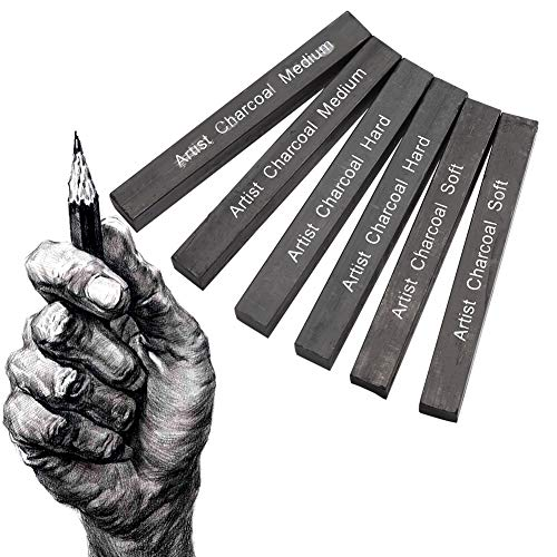 Queen.Y 6 Pezzi di Carboncino Compresso Bastoncini Quadrato Nero Morbido/Medio/Duro Disegno a Matita in Grafite Suppl per Disegnare Ombreggiare