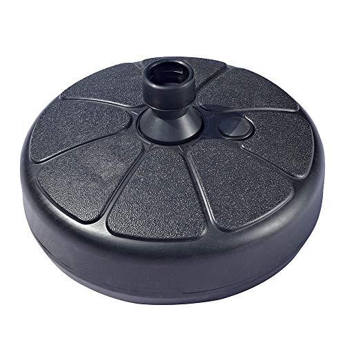 REWD Durable Heavy Duty Plastic Portable Umbrella Stand,Round Garden Umbrella Base,Water Sand Metal Fillable Stone Plastic Parts Umbrella Holder for 3.5-38cm (Color : Black)