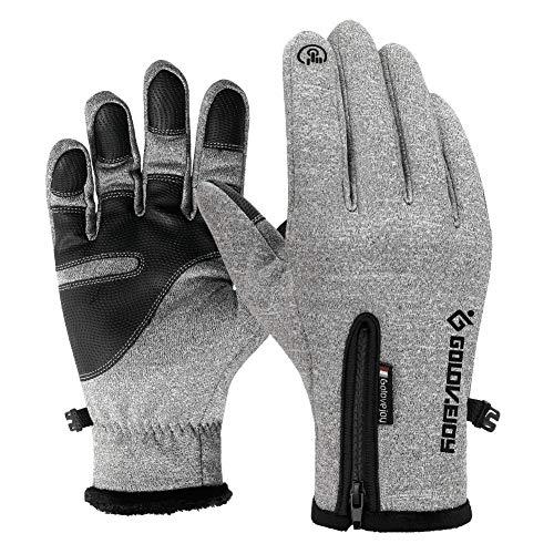 Gants d'hiver Feng Rui - Résistant au froid - Pour homme et femme - Pour cyclisme, course à pied, ski, sports de plein air, gris, S