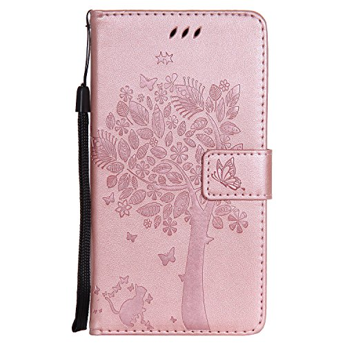 Snow Color Huawei Honor 5X Hülle, Premium Leder Tasche Flip Wallet Case [Standfunktion] [Kartenfächern] PU-Leder Schutzhülle Brieftasche Handyhülle für Huawei Honor 5X - COKT010496 Rosa Gold