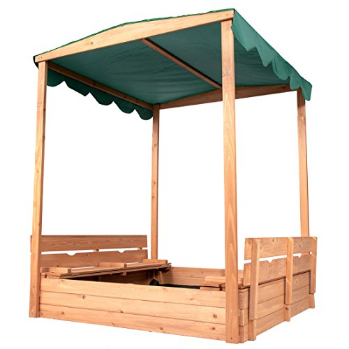 """Good Life Outdoor Canopy Sandbox with Covered and Bench Seats Kids Play Sand for Sand Box Toys Wood Natural Color 47"""" x 47"""" Size"""