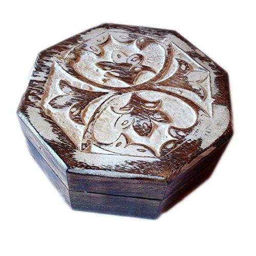 Antieke handgemaakte witgekalkte houten Urn bladeren graveren handgesneden sieraden doos voor dames-mannen juweel | Home Decor Accents | Decoratieve Urns | Opslag & Organiser (5x5x2 inch)