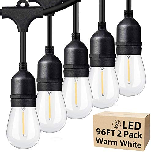 48ft 2 Packs LED Outdoor String Lights with Waterproof Shatterproof Dimmable 2700K Warm White product image