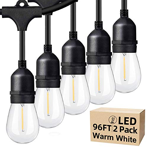 48ft 2 Packs LED Outdoor String Lights with Waterproof Shatterproof Dimmable 2700K Warm White Filament Bulbs, E26 15 Sockets Linkable Commercial Grade Hanging String Lights for Patio Deck Backyard