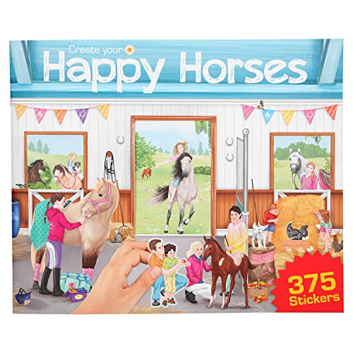 Depesche 10747 Malbuch Create Your Happy Horses mit Stickern, ca. 30 x 24,5 x 0,7 cm
