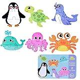 SGDD Puzzle de Madera, 6 Pack Rompecabezas Puzzle Juguetes Bebes para Niños de 1 2 3 4 5 Años Montessori Educativos Regalos 3D Patrón Puzles con Caja de Rompecabezas de Metal (Oceano)