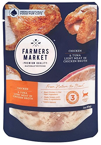 Farmers Market Pet Food Premium Natural Wet Cat Food Pouch, 3 oz, Chicken & Tuna Light Meat In Chicken Broth (Case of 24)