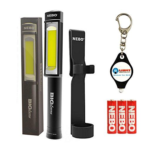 NEBO Big Larry 400 Lumen Flashlight Work Light COB Magnetic Bundle with Holster and Lumintrail Keychain Light (Black)