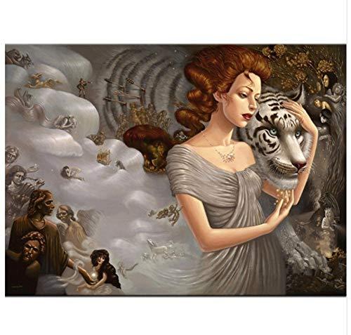 MOL handwerk doe-het-zelf 5D hars-diamant-schilderij kruissteek-vol diamant-borduurwerk meisje met witte tijger gelijmd schilderij 40x50cm/16x20in