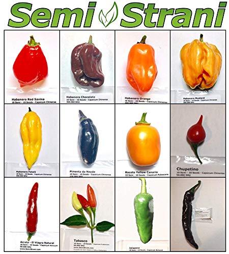 120 Samen In 12 Sorten, Der Mexican Kollektion: Habanero, Jalapeno, Tabasco, Chipotle etc