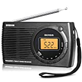 Portable AM FM SW Radio Alarm Clock, Small Pocket Radio Digital Tuning Stereo Personal Battery Radio for...