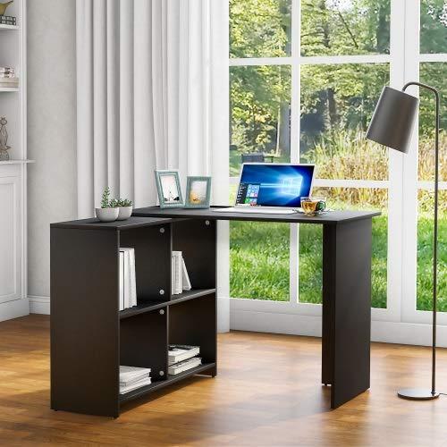 Kunyun Escritorio L-Computer con Espacio de Almacenamiento Grande Estudio de Escritorio Laptop Tabla para la Oficina en casa` (Color : Negro)
