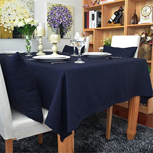 Hippolo 1-teilig Baumwolle einfarbig Tischdecke Rechteck Tischdecke für Esstisch dicken Tisch Decken (140 * 160cm, Marineblau)