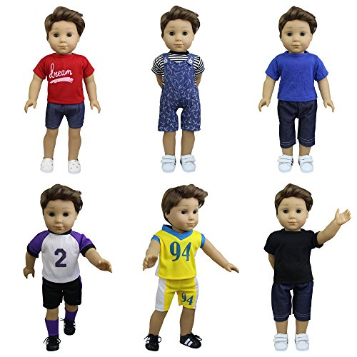 ZITA ELEMENT Boy Doll Clothes - 6 Sets Daily Casual Clothes Outfits for American 18 inch Girl & Boy Dolls Xmas Gift