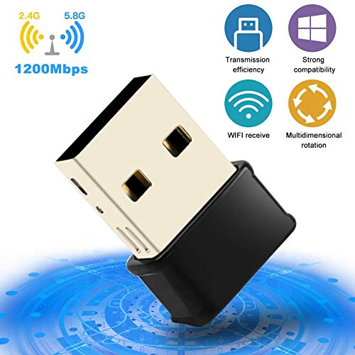 Adattatore Antenna WiFi USB 1200 Mbps Chiavetta WiFi USB 3.0 Dual Band 2.4G/5G Scheda WiFi 802.11ac Ricevitore WiFi per PC Windows XP/Vista / 7/8/10, Mac OS/Linux