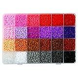 LIHAO 12000 Mini Cuentas y Abalorios Plásticos Cuentas para Planchar de 24 Colores para DIY Manualidad (2,6MM, Set B)