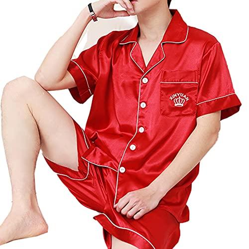 TIANLU Conjunto de pijama de satén de manga corta para hombre con pantalones cortos(rojo/L)