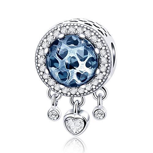 Abalorio de piedra natalicia compatible con pulsera Pandora collar de plata de ley atrapasueños con cuentas de cristal azul