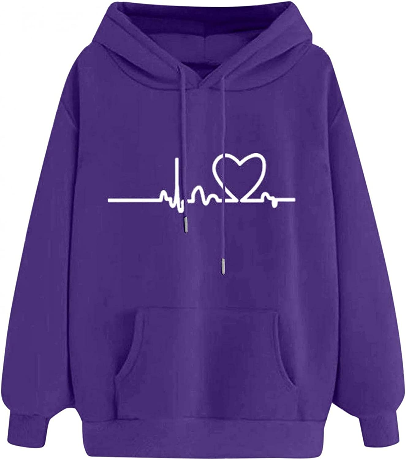 Hotkey Hoodies for Women, Womens Sweatshirt Heartbeat Print Hooded Pullover Casual Long Sleeve Tops with Large Front Pocket