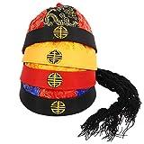 PRETYZOOM 4 piezas sombrero de disfraz de emperador chino con trenza, sombrero de mandarín tradicional, sombrero de fiesta de Samurai, accesorios de ropa para niños pequeños de 2 a 10