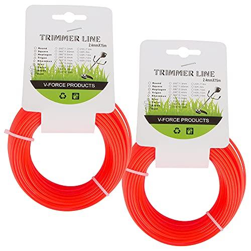 Línea de Corte de Nylo, ZoneYan Hilo desbrozadora Nylon Redonda (2 piezas x 2,4 mm x 15 m) Heavy Duty Brush Cutter Round Core Wire