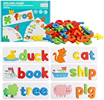 HOONEW See and Spelling Learning Toy, Matching Letter Games Sight Word Flash Cards Montessori Wooden Educational Toys...
