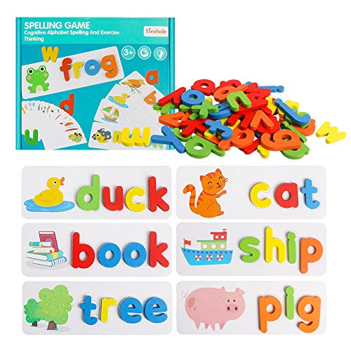 HOONEW See and Spelling Learning Toy, Matching Letter Games Sight Word Flash Cards Montessori Wooden Educational Toys Gifts for Preschool Kindergarten Kids Boys Girls 3 4 5 Years Old