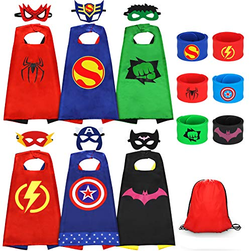 Jojoin 6 PCS Superhero Capes for Kids, 6 Superheroes Wristbands Slap Bands, 6 Hero Masks and 1 Storage Bag, Role Play Costume Dress up Toys Gift Kids for Halloween Birthday Party Christmas