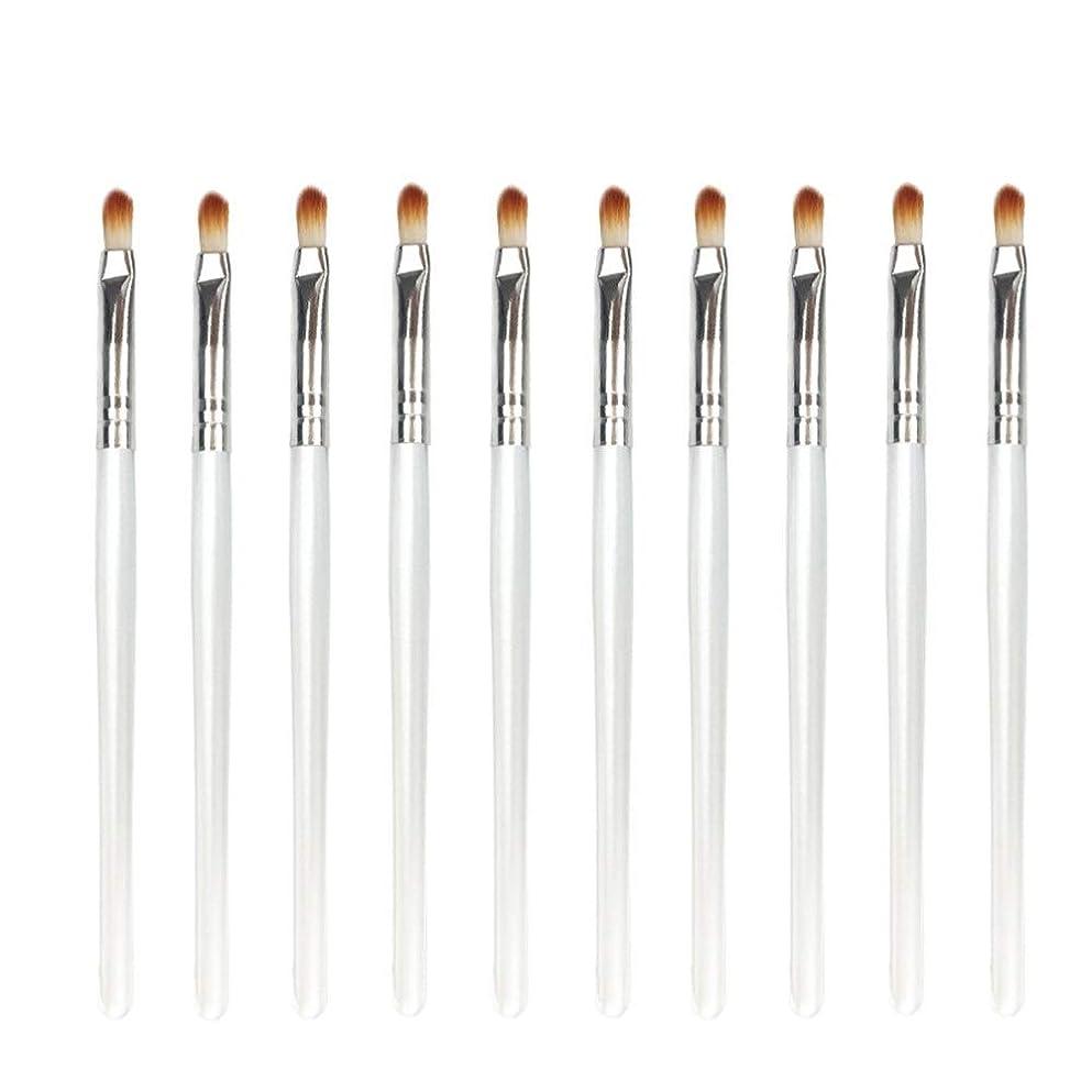 バス日歴史家Makeup brushes 10メイクアップブラシアイスマッジセットリップブラシアイシャドウハイライト便利なツール-ホワイト suits (Color : White Silver)