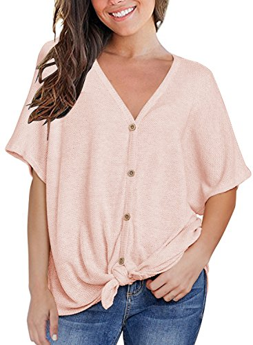 MIHOLL Womens Loose Blouse Short Sleeve V Neck Button Down T Shirts Tie Front Knot Casual Tops (Small, Pink)
