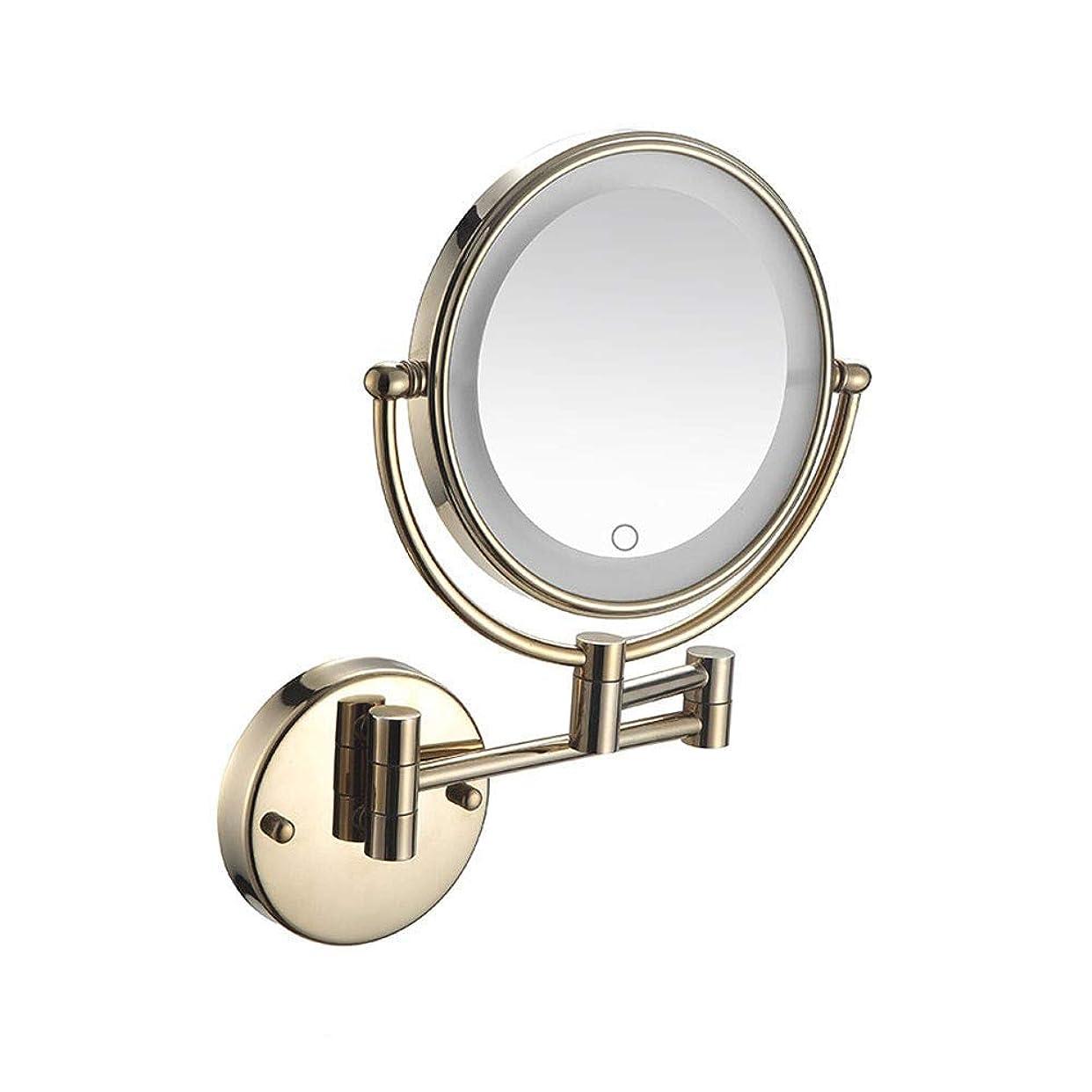 うまれた支店保護するLED浴室鏡子帶燈化妝鏡壁掛式鏡子觸摸屏5倍放大雙臂擴展雙面圓形360°旋轉壁鏡隱藏式安裝