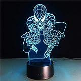 Lampe De Sommeil 3D Lampe De Table Meilleur Cadeau Pour Enfants Spiderman Veilleuse Héros Lampe Usb Couleur Changeante Table Décoration
