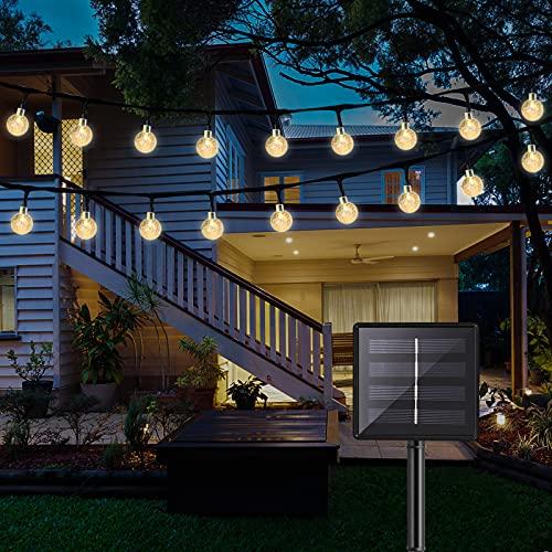 DeepDream Solar Lichterkette Aussen,60 LED 36ft Solar Kristall Kugeln Wasserdicht Solarbetriebene Außen Beleuchtung für Garten,Terrasse,Weihnachten, Hochzeiten, Partys,warmweiß