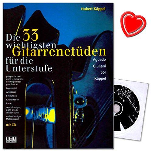 Die 33 wichtigsten Gitarrenetüden für die Unterstufe - Etüdenheft von Hubert Käppel mit CD (Hörbeispiele) und bunter herzförmiger Notenklammer