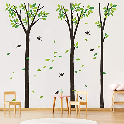 decalmile Adesivi Murali Grande Albero Adesivi da Parete Foglie Verde Uccello Decorazione Murale Camera da Letto Soggiorno Ufficio (H: 240 cm)