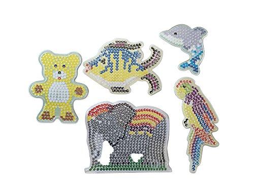 EAST-WEST Trading GmbH Bügelperlen Stiftplatten Tiere, Bügelperlen Steckplatten, 5 Verschiedene Motive Elefant, Bär, Papagei, Fisch, Delphin