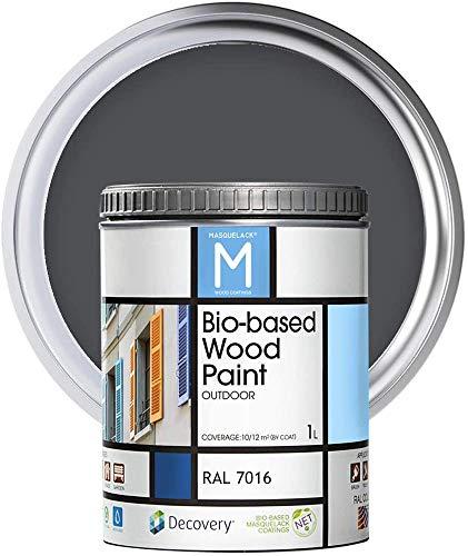 Peinture pour bois   Bio-based Wood Paint RAL 7016   1 L   Pour tous les types de bois   Peinture extérieure pour bois avec une finition semi-mat, chaude et soyeuse   Couleur Gris anthracite