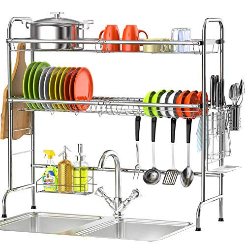 Over the Sink Dish Drying Rack, Veckle 2 Tier Dish Rack Standing Dish Drainer Non-Slip Stainless Steel Dish Dryer, Utensil Holder Cutting Board Holder Kitchen Counter Shelf Storage Rack, Silver