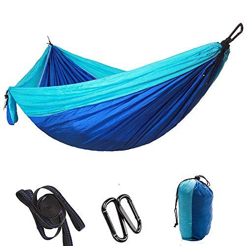 Dewanxin Hamac de voyage ultra-léger, capacité de charge de 300 kg, 100 % nylon respirant, parachute à séchage rapide, 2 mousquetons premium, 2 boucles en nylon incluses, 300 x 200 cm, bleu ciel