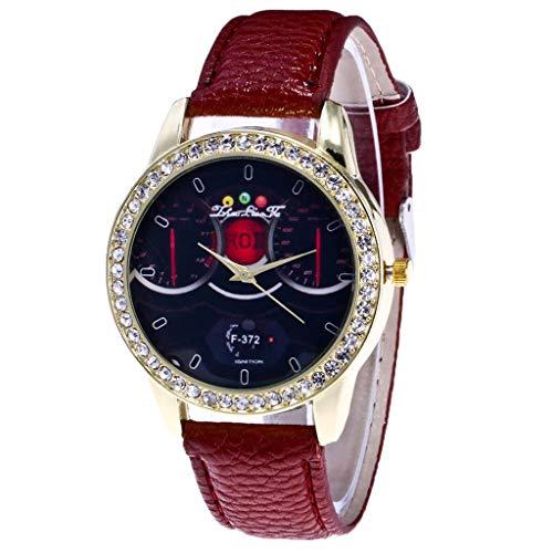 LABIUO Uhren für Männer Frauen, Mode Retro Analog Quarz Diamant-verkrustete Uhr PU Leder Casual Paar Armbanduhr(Kaffee,Einheitsgröße)