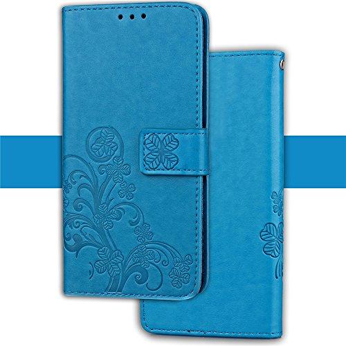 Caler Tasche Kompatibel für Samsung Galaxy S9 Hülle Außenseite aus Echt Leder Innenseite aus Textil Magnet Schutz Case Ständer mit Kartenfach Ultra Slim Cover Bookstyle Klappbar